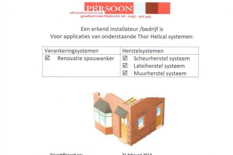Thor Helical gecertificeerd erkend installateur bedrijf
